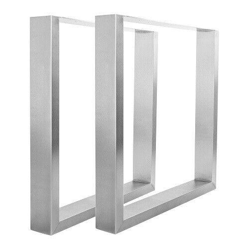 2 Tischbeine Edelstahl Matt U-Form - NUR für unsere Baumstamm Tischplatten