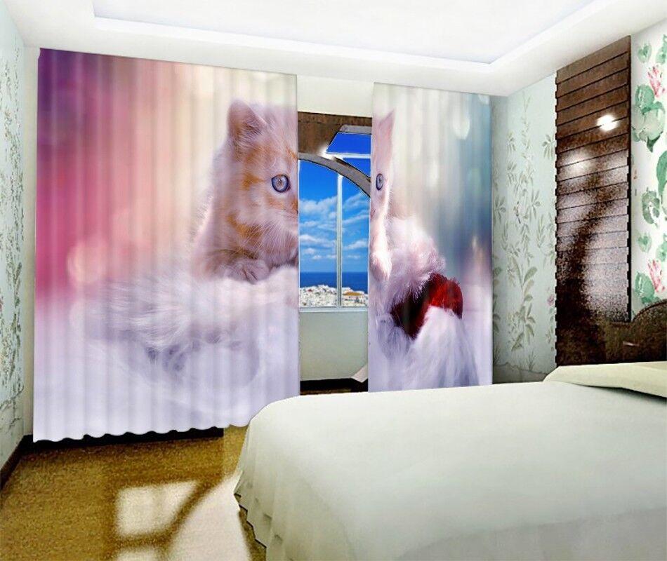 3D Precioso Estampado De Cortina De Foto Cat 5 Blockout Cortinas Cortinas Ventana De Tela Reino Unido