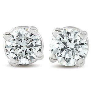 1-4-ct-Round-Diamond-Studs-Solitaire-Earrings-14K-White-Gold