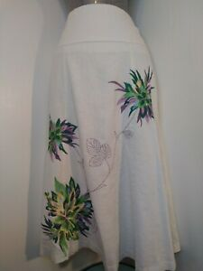 KLASS-LINEN-SKIRT-SIZE-14-WORK-NIGHT-OUT-SMART-BEAUTIFUL-EMBROIDERY