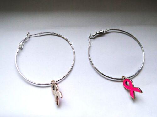Lutte contre le cancer Boucles d'oreilles créoles avec ruban rose