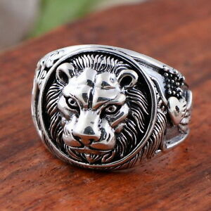 LION-Head-White-Gold-Plated-on-Copper-Men-039-s-Giraffes-Eagle-Lion-Ring-Size-11-M22