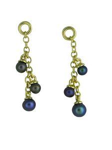 9ct-Yellow-Gold-034-Serenity-6-034-Black-Pearls-Drop-Earrings