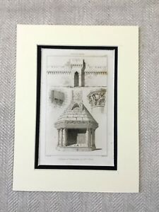 1830 Medieval French Architecture Castle Walls Stone Carving Antique Engraving