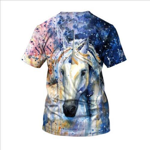 Woman T-shirts White horse Printed Short Sleeve T-shirt S-3XL T-shirt