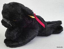Steiff Cosy Black Panther Cat Woven Fur Plush 28 cm ID Button Tag 1980s Vintage