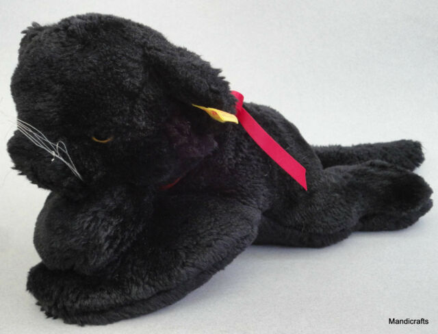 Steiff Cosy Black Panther Woven Fur Plush 28cm 11in ID Button Tag 1980s Vintage