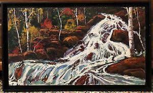 Paul-Rodrik-Original-Oil-on-Board-Stream-Forest-Landscape-Scene