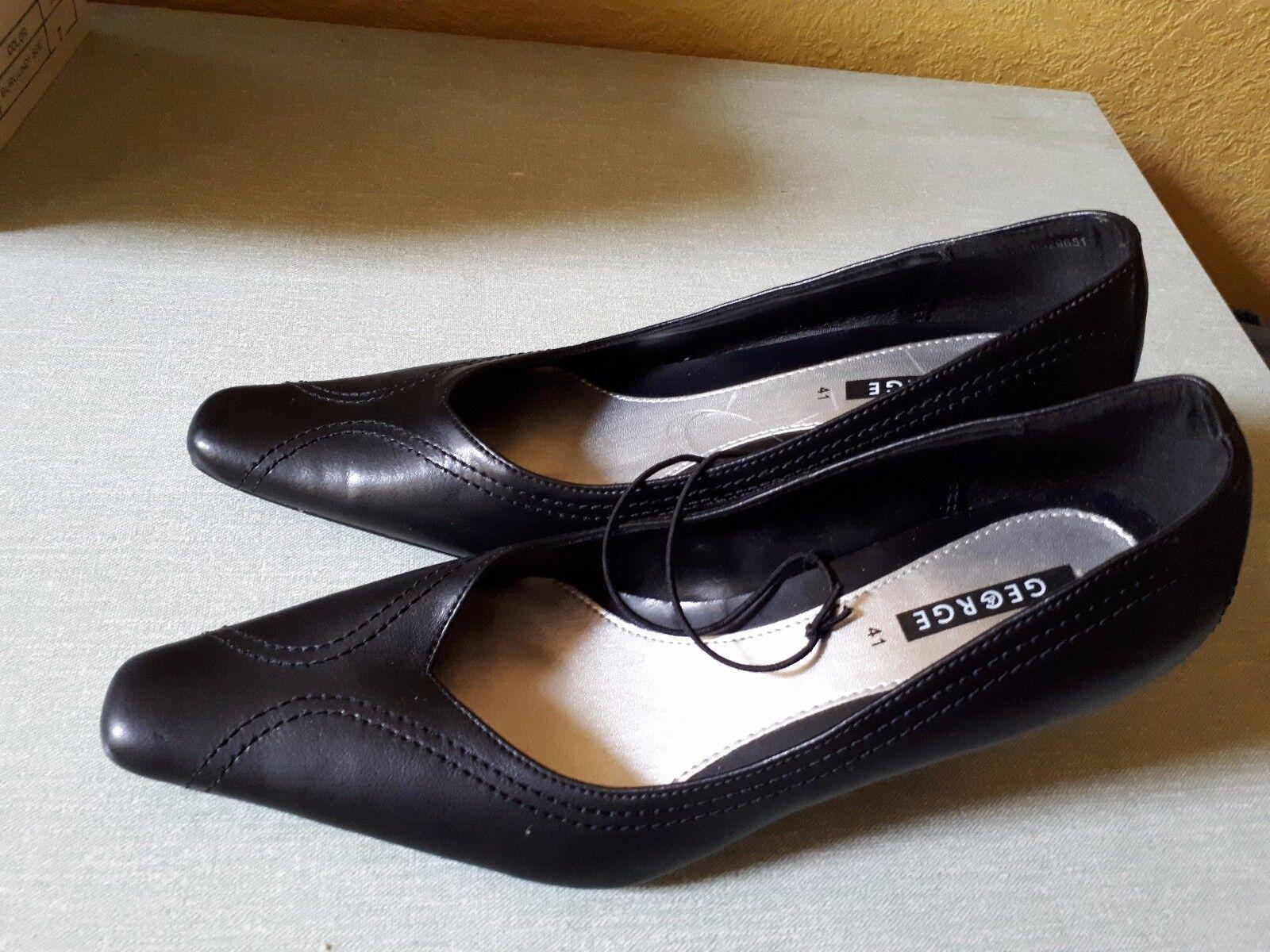 "Ladies George Shoes Black leather Size 7 (41) 2 1/2"" heel - never worn"