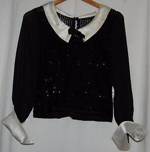 Vintage-40-039-s-Black-Beaded-Sequin-White-Sheer-Blouse-White-Satin-Collar-Cuff-S
