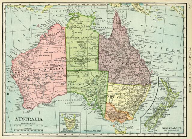 Full Map Of Australia.Map Of Australia Full Poster Print World Globe Art New Zealand