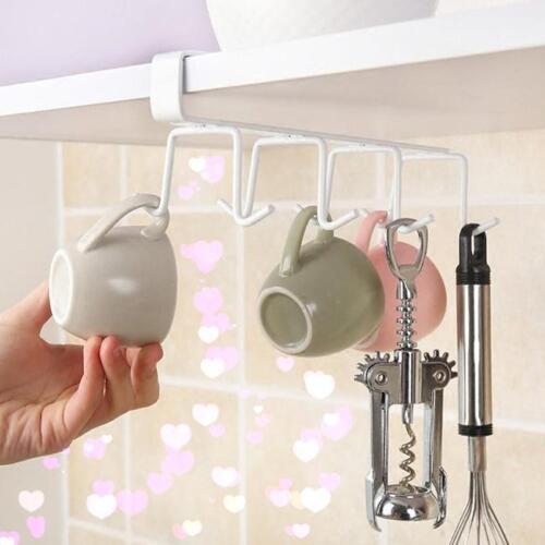 Kitchen Cup Holder Hang Cabinet Shelf Storage Rack Organizer 8 Hooks Tools LT