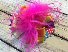 Neon Bright/ Rainbow/Multi Color Over The Top Ostrich Feather Hair Bow
