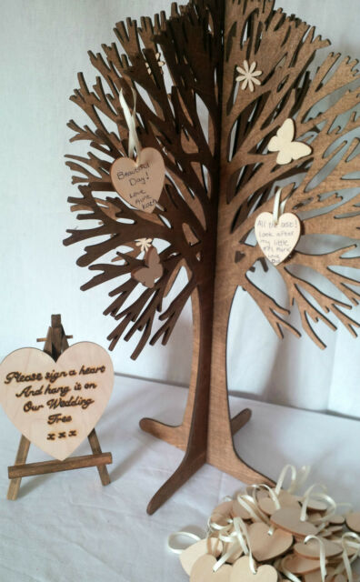 Personal Wishing Tree & 100 Wooden Hearts Alternative Wedding Guest Book Rustic