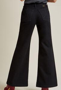 WRANGLER-Modcloth-Black-Wide-Leg-Bell-Bottom-Jeans-Hippie-Disco-6-10-12-11MCWBK