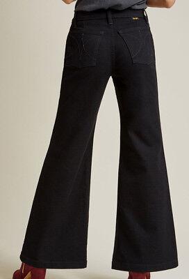 WRANGLER Modcloth Black Wide Leg Bell Bottom Jeans Hippie Disco 6 10 12 11MCWBK