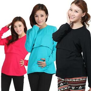 8cdc929163 Image is loading Long-Sleeve-cute-Pregnant-Maternity-Clothes-Nursing-Tops-