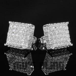 18k White Gold Bling Out Iced Aaa Lab Diamond Micropave