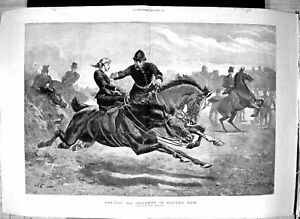 Antique-Old-Print-1885-Runnaway-Horse-Rotten-Row-London-Policeman-Charlton