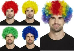 Fancy Dress Crazy Clown Wigs Red Blue Green Yellow and rainbow wigs