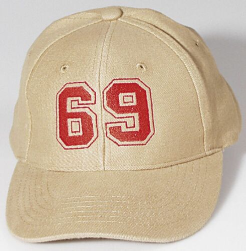 Baseball Cap Cap Cap Beige with Embroidery Number 69 Sixty Nine 68102