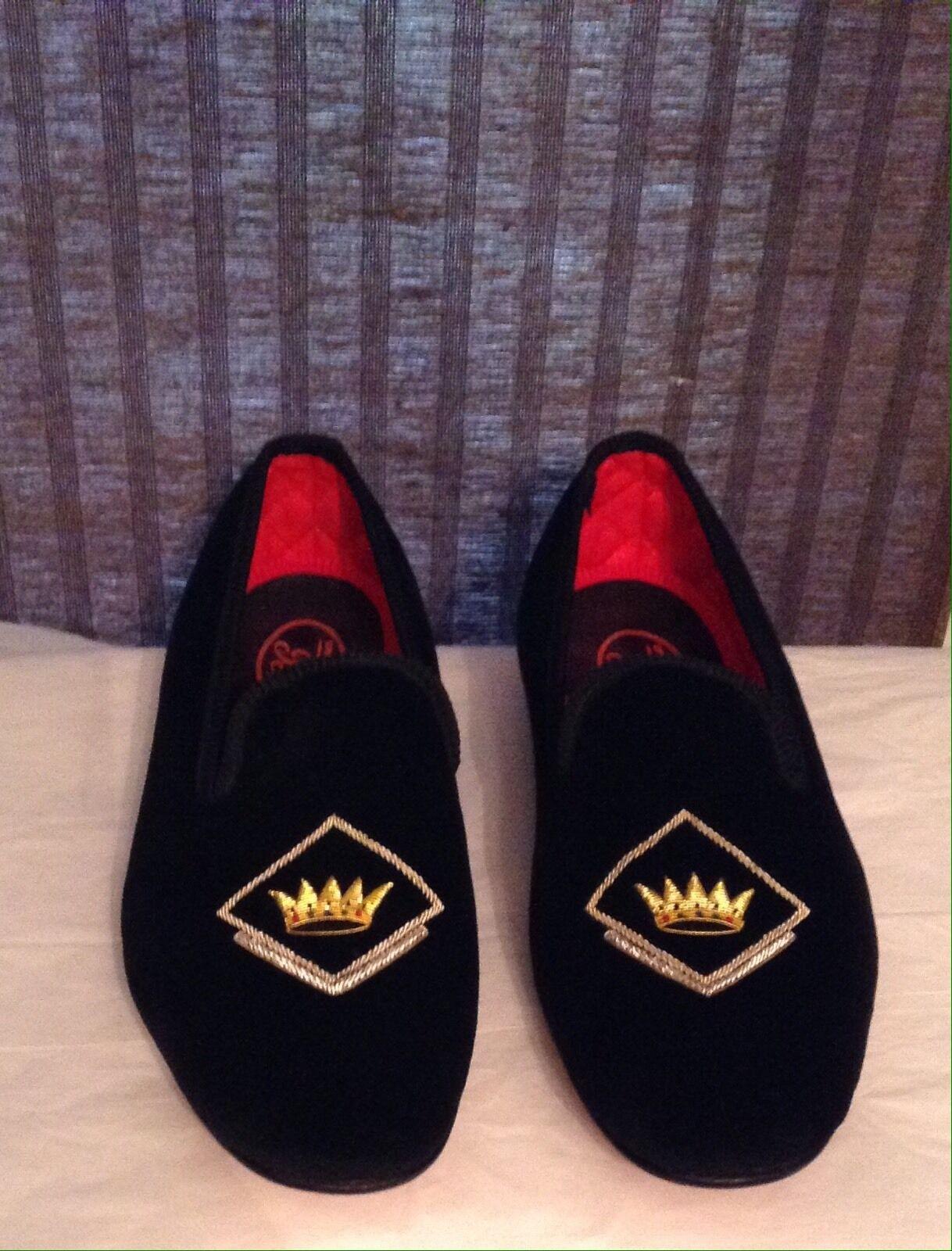 George Cleverly Crown Albert Black Velvet Loafer Sz 9