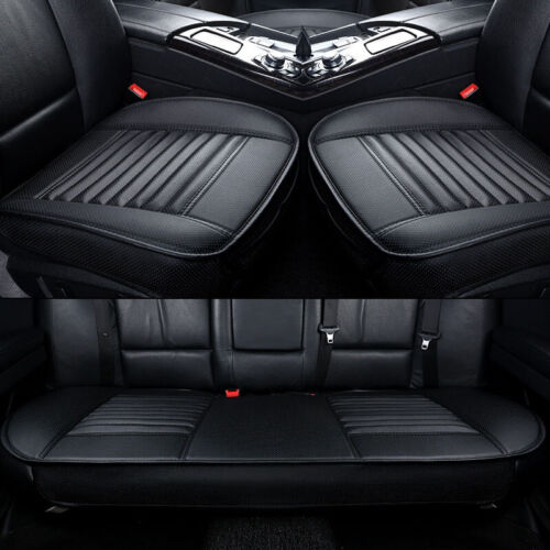 3X Quilted Car Seat Covers Cushion Chair Mat Pad Full Set Front Rear PU Leather