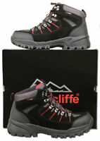 Mens New Black Leather Waterproof Hiking Walking Boots Size 6 7 8 9 10 11 12 13