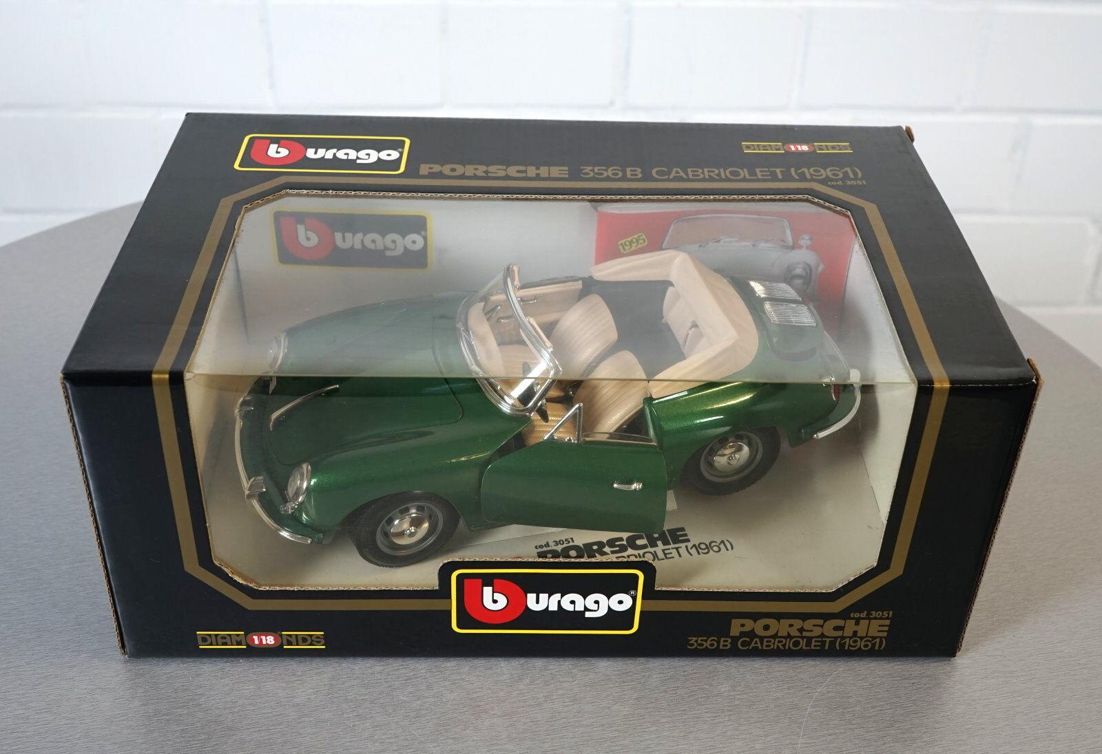 Burago 1 18 Porsche 356 B CABRIOLET  (1961) Vert -3051 - les-Cast Modèle Voiture Neuf dans sa boîte  peu coûteux