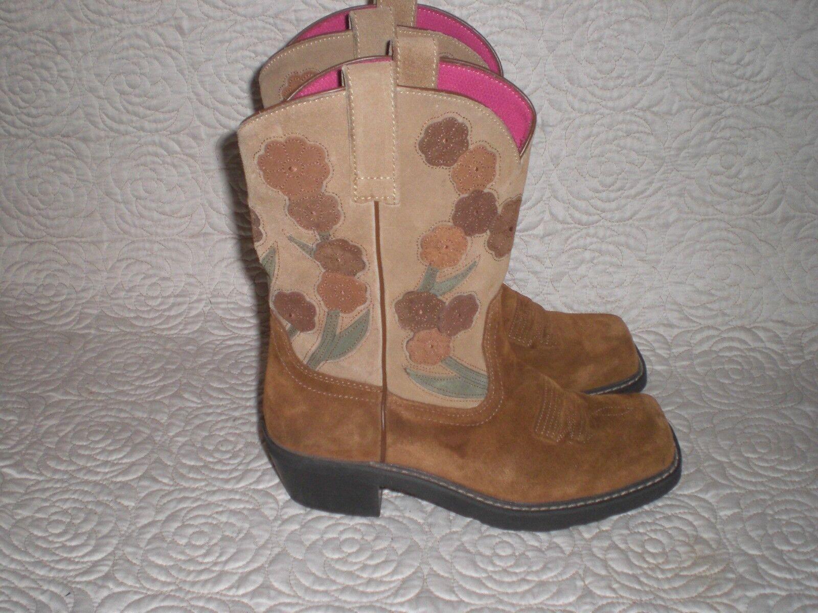 Damenschuhe ARIAT Doll Baby 16230 Suede Leder Square Toe Floral Cowboy Stiefel 9.5 B