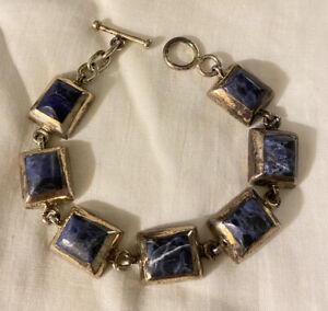 Vintage-Taxco-Mexico-925-Sterling-Silver-Lapis-Chunky-Link-Bracelet-8
