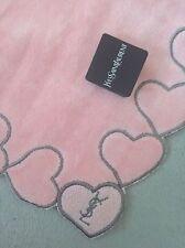 New YSL Yves St Laurent Pink Heart Velour Face Towel Handkerchief Japan vintage