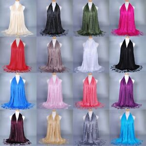 Women-039-s-Glitter-Cotton-Tassel-Long-Hijab-Pashmina-Shawl-Scarf-Scarves-Stole-Wrap