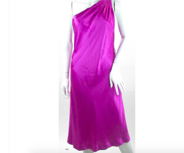 Nuevo Vestido de Seda púrpuraa Púrpura  Brillante   175 tamaño 10 un hombro estilo con etiquetas  en linea