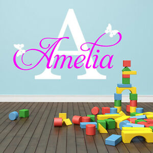 WALL-STICKERS-Personalised-Name-Initial-Custom-Girls-Boys-Wall-Quotes-N145