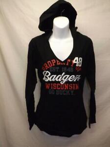 Nuevo-Wisconsin-Badgers-Mujer-Talla-M-Mediano-Negro-con-Capucha-Camisa