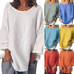 Women-Long-Sleeve-Baggy-Blouse-T-Shirt-Ladies-Summer-Tunic-Tops-Plus-Size-Casual