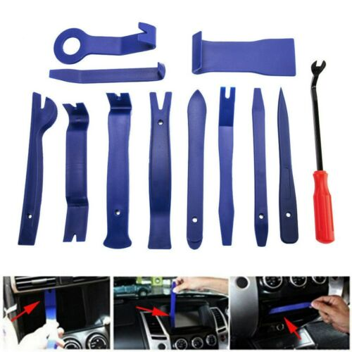 12pcs Plastic Car Door Clip Panel Trim Dash Radio Audio Removal Pry Tool Kits