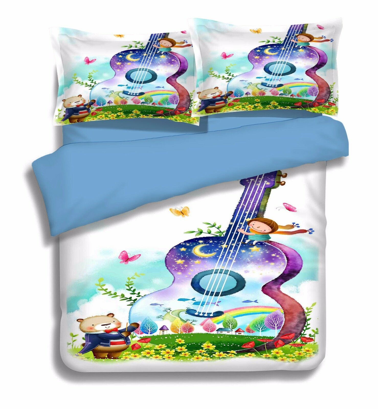 3D Guitar Painted 986 Bed Pillowcases Quilt Duvet Cover Set Single Queen UK Kyra