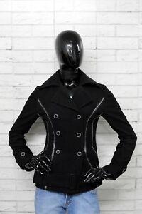 Giacca-Donna-FUEGO-Taglia-Size-42-Jacket-Woman-Cappotto-Nero-PARI-AL-NUOVO