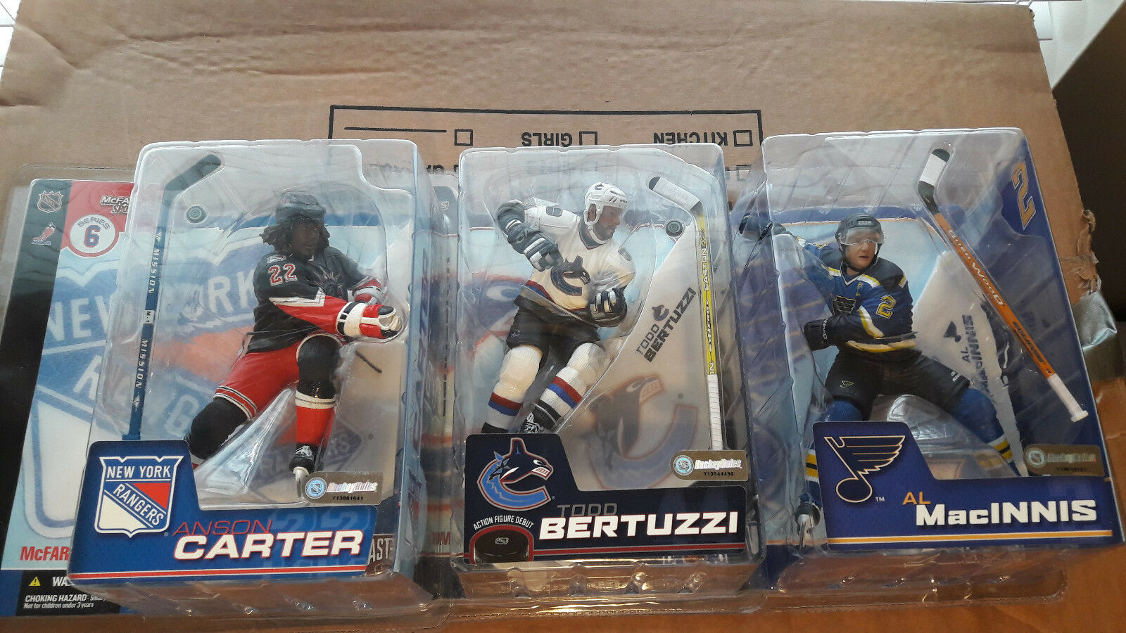 Lot 3 McFarlane NHL Series 6 & 7 Bertuzzi Carter MacInnis Rangers Figures NIB