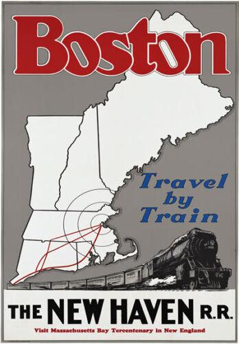 TR96 Vintage Boston New Haven American Railway Tourism Poster Re-Print A4