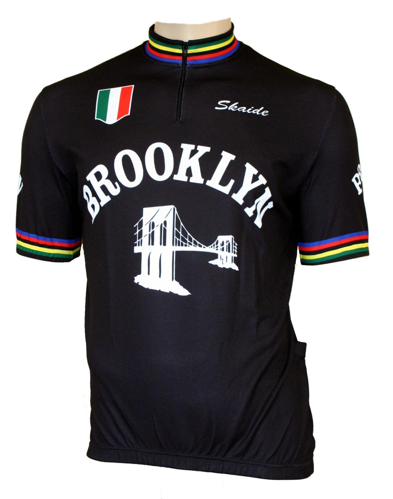 CYCLING Brooklyn Retrò Nero a Maniche Corte (anche taglie forti fino a 6xl)