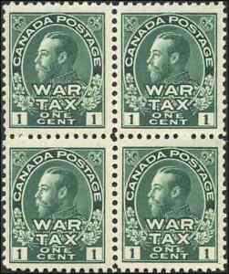 Canada-MR1-mint-F-VF-OG-NH-1915-War-Tax-1c-green-King-George-V-Admiral-BLK-of-4