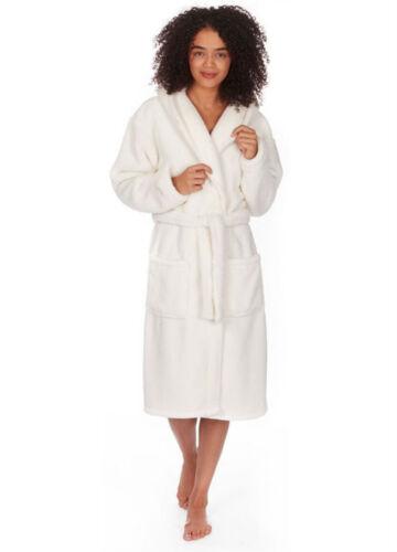 Womens Soft Hooded Fleece 3//4 Length Bath Dressing Gown Robe Nightwear Plus Size