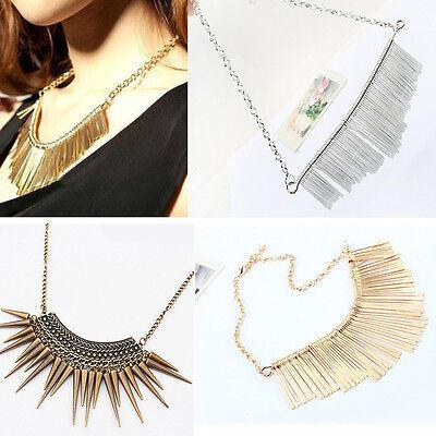 New Womens Metal Multilayer Chain Tassels Choker Bib False Collar Long Necklace