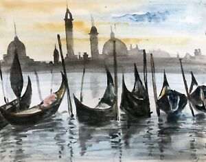 ORIGINAL-WATERCOLOUR-SEASCAPE-PAINTING-OF-PARKED-BOATS-IN-VENICE-SIGNED