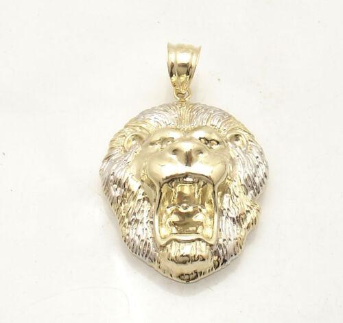 Mens Diamond Cut Roaring Lion Head Charm Pendant Real Solid 10K Two-Tone Gold