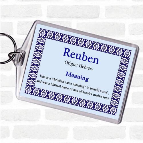 Reuben nom signifiant Sac Tag Keychain Porte-clés bleu