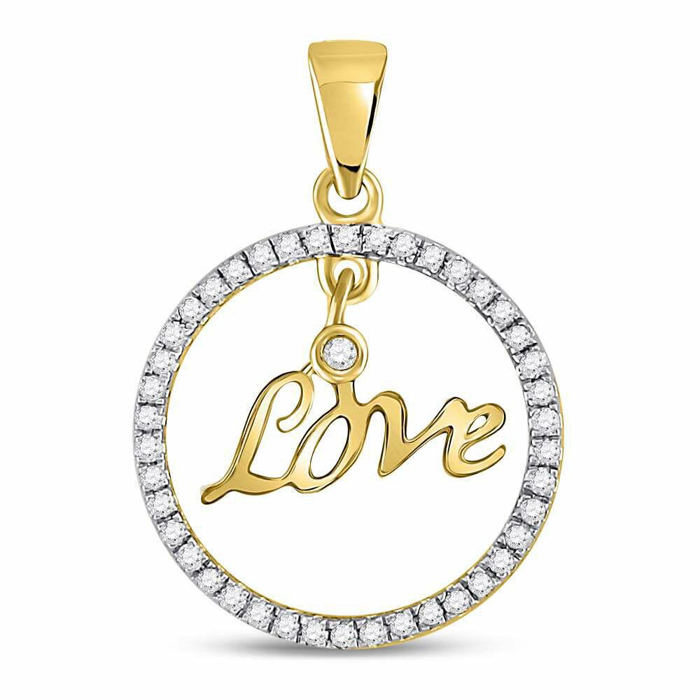 10kt Yellow gold Womens Round Diamond Heart Circle Pendant 1 4 Cttw